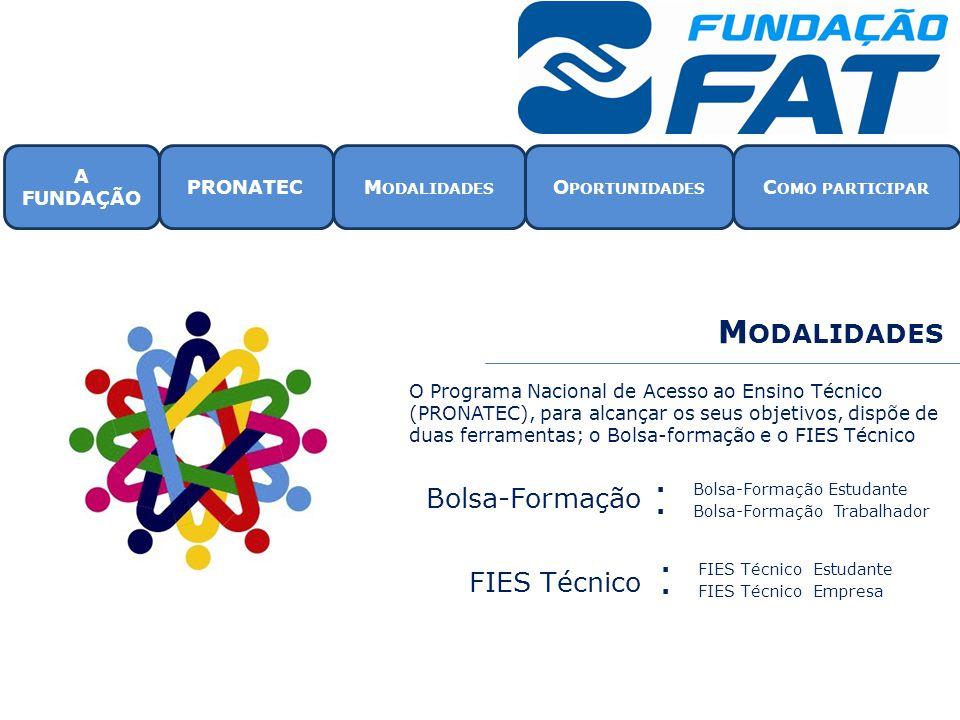 Modalidades Bolsa-Formação FIES Técnico A FUNDAÇÃO PRONATEC
