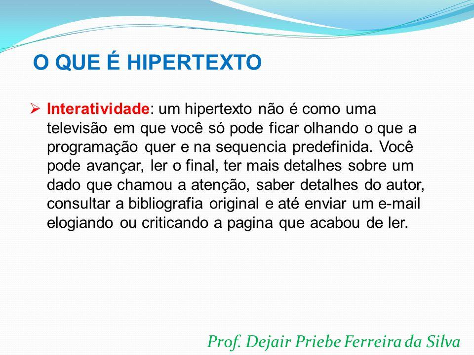 O QUE É HIPERTEXTO Prof. Dejair Priebe Ferreira da Silva