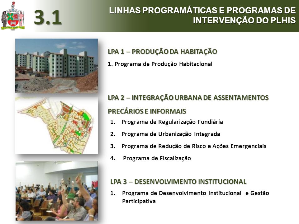 3.1 LINHAS PROGRAMÁTICAS E PROGRAMAS DE INTERVENÇÃO DO PLHIS