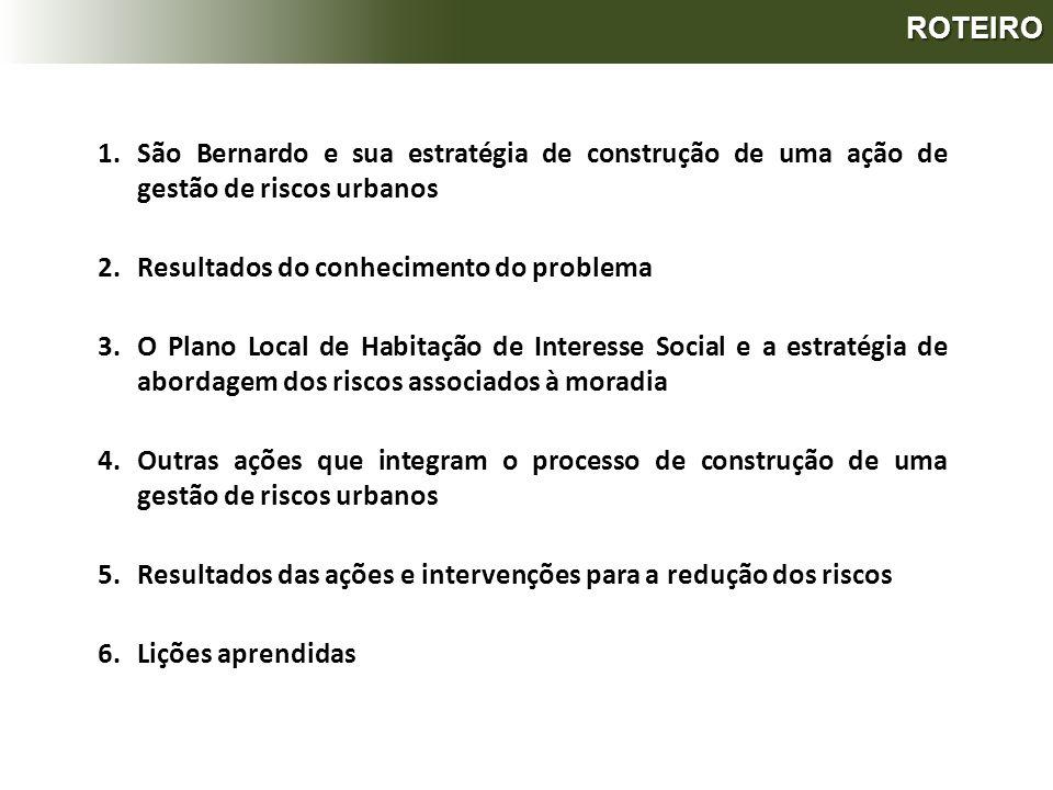 ROTEIRO São Bernardo e sua estratégia de construção de uma ação de gestão de riscos urbanos. Resultados do conhecimento do problema.