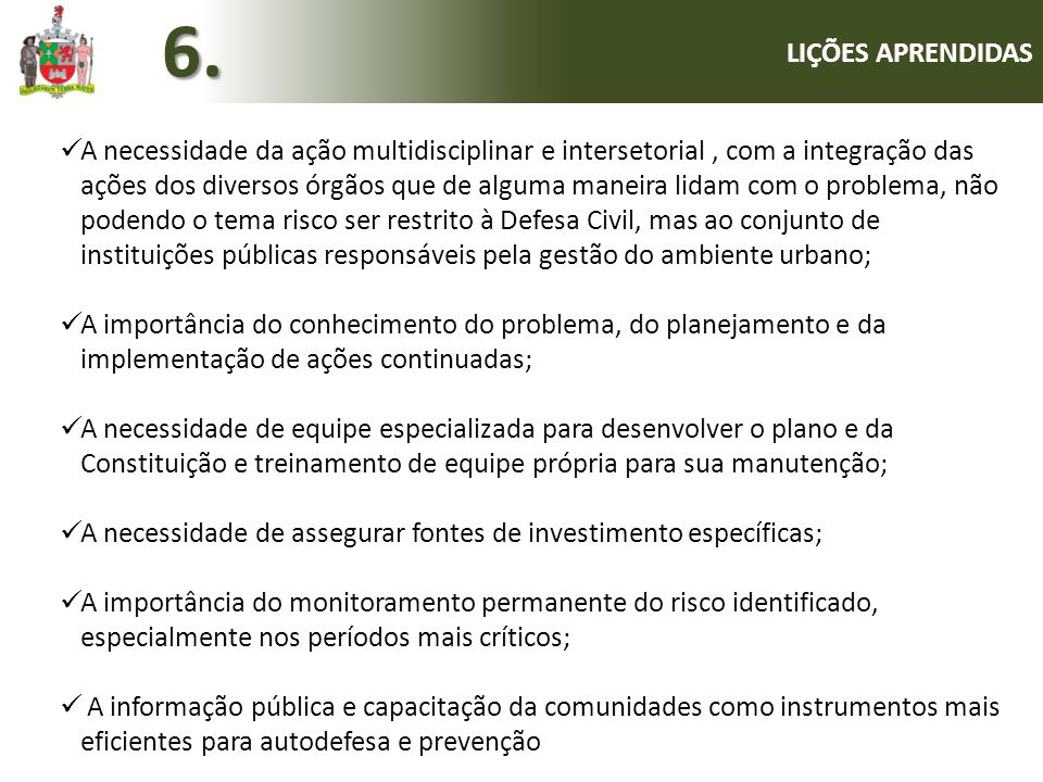 6. LIÇÕES APRENDIDAS.