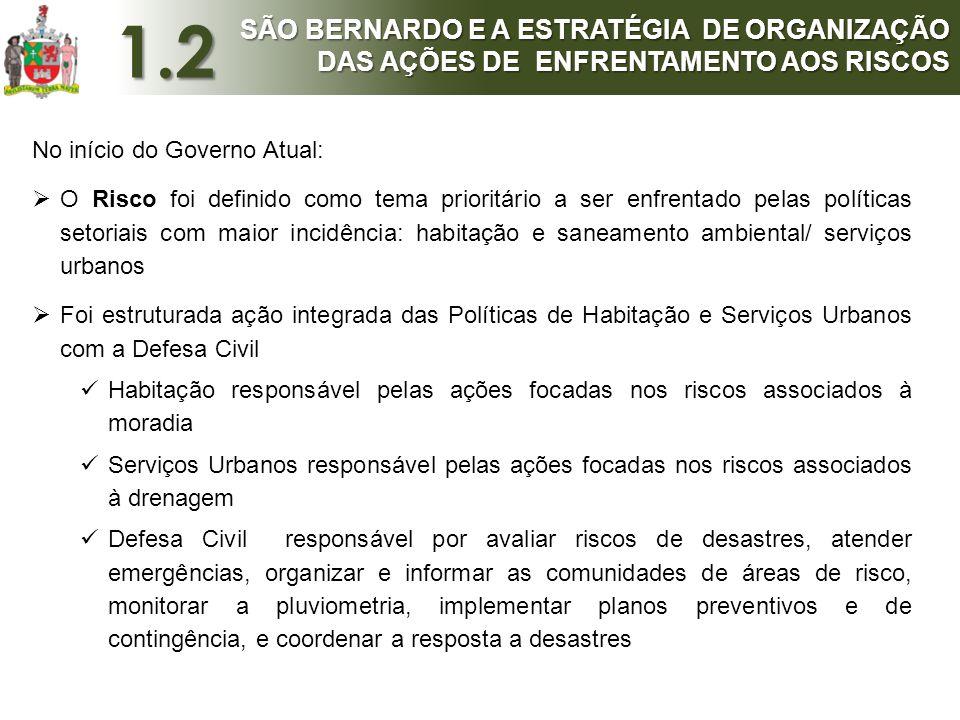 1.2 SÃO BERNARDO E A ESTRATÉGIA DE ORGANIZAÇÃO DAS AÇÕES DE ENFRENTAMENTO AOS RISCOS. No início do Governo Atual: