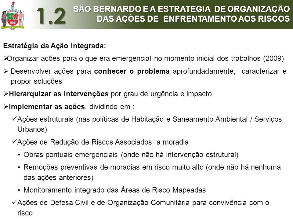 1.2 SÃO BERNARDO E A ESTRATEGIA DE ORGANIZAÇÃO DAS AÇÕES DE ENFRENTAMENTO AOS RISCOS. Estratégia da Ação Integrada: