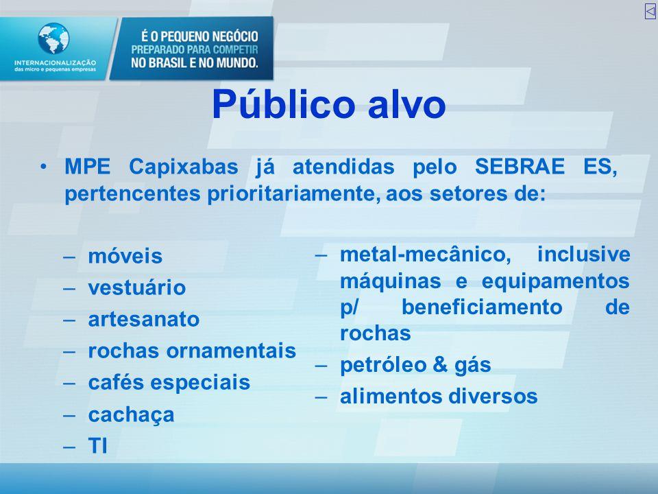Público alvo MPE Capixabas já atendidas pelo SEBRAE ES, pertencentes prioritariamente, aos setores de: