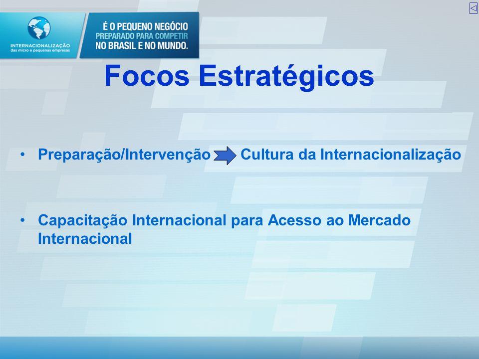 Focos Estratégicos Preparação/Intervenção Cultura da Internacionalização.