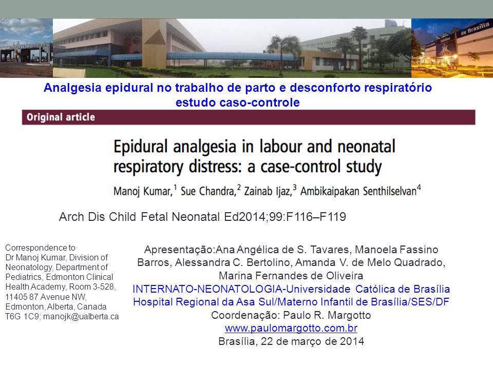 Analgesia epidural no trabalho de parto e desconforto respiratório