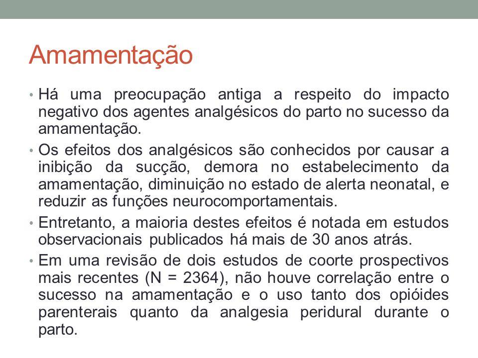 Amamentação Há uma preocupação antiga a respeito do impacto negativo dos agentes analgésicos do parto no sucesso da amamentação.