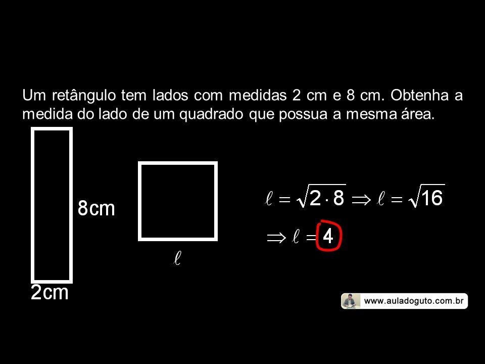 Um retângulo tem lados com medidas 2 cm e 8 cm