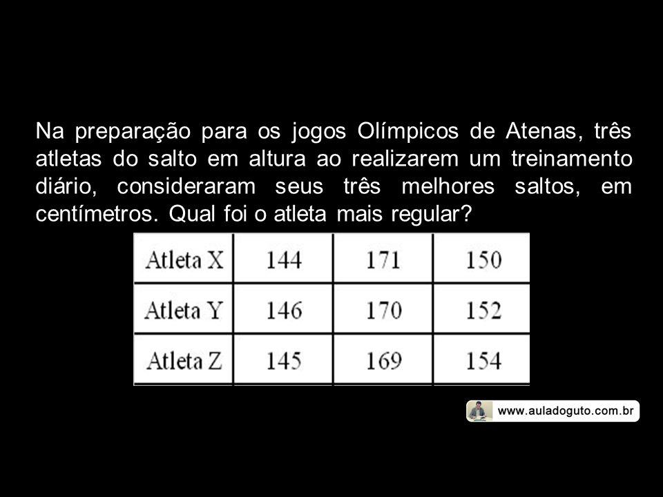 Na preparação para os jogos Olímpicos de Atenas, três atletas do salto em altura ao realizarem um treinamento diário, consideraram seus três melhores saltos, em centímetros.