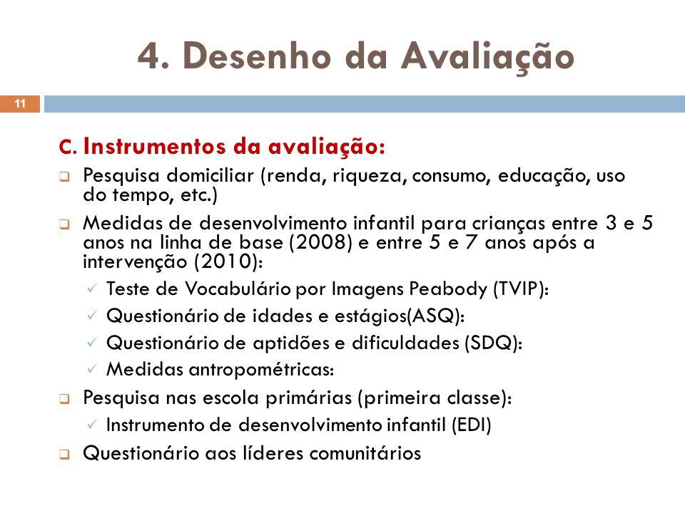 4. Desenho da Avaliação C. Instrumentos da avaliação: