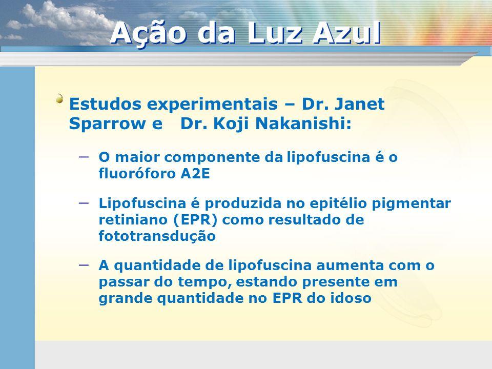 Ação da Luz Azul Estudos experimentais – Dr. Janet Sparrow e Dr. Koji Nakanishi: O maior componente da lipofuscina é o fluoróforo A2E.