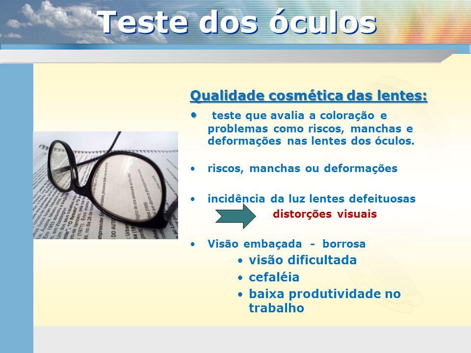 Teste dos óculos Qualidade cosmética das lentes: