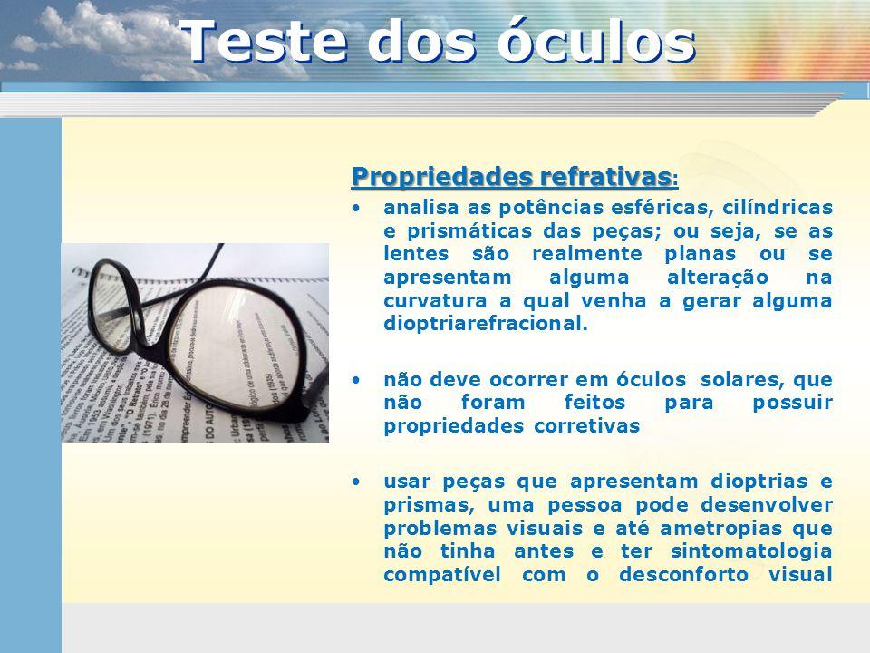 Teste dos óculos Propriedades refrativas: