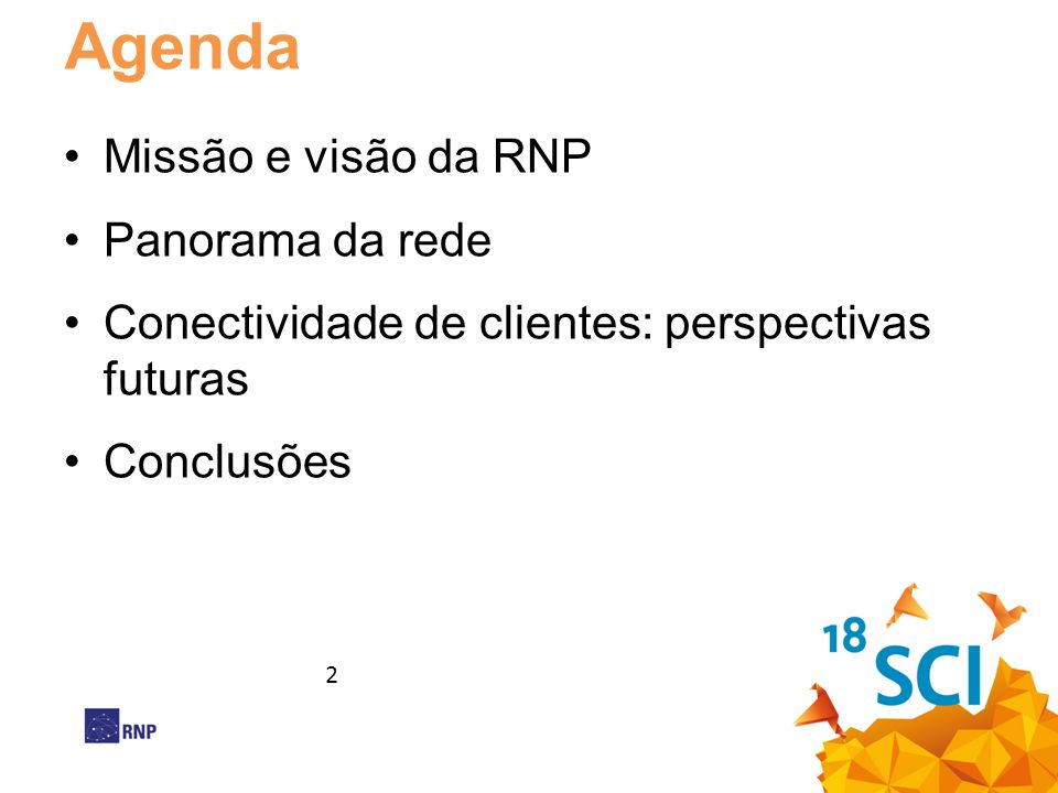 Agenda Missão e visão da RNP Panorama da rede
