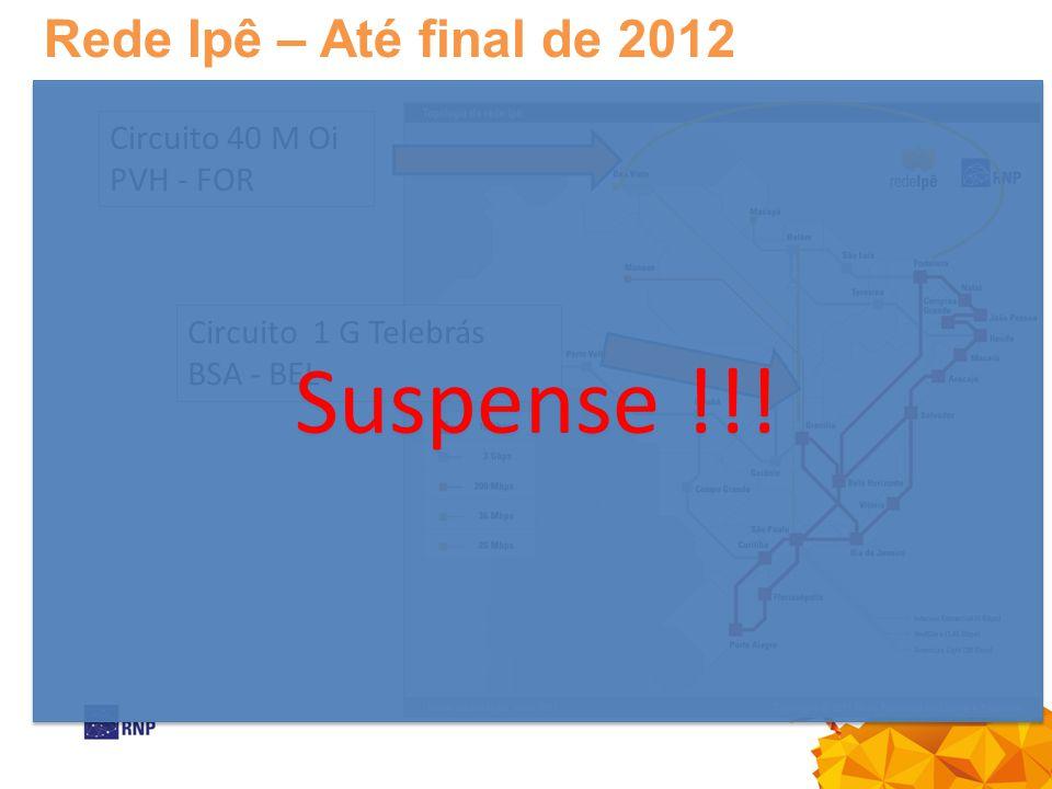 Suspense !!! Rede Ipê – Até final de 2012 Circuito 40 M Oi PVH - FOR