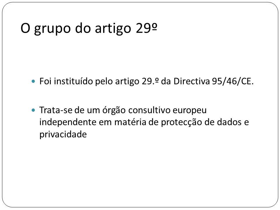 O grupo do artigo 29º Foi instituído pelo artigo 29.º da Directiva 95/46/CE.