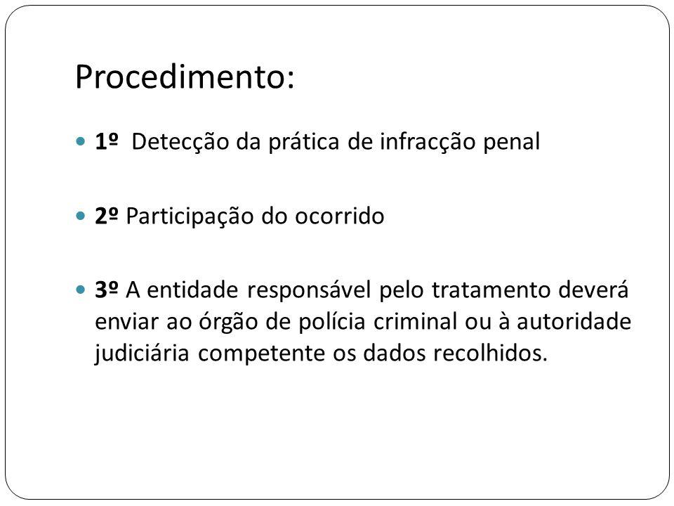 Procedimento: 1º Detecção da prática de infracção penal