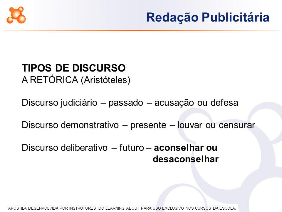 TIPOS DE DISCURSO A RETÓRICA (Aristóteles)