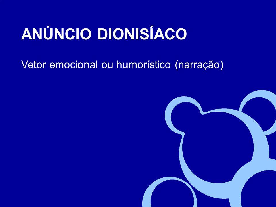 ANÚNCIO DIONISÍACO Vetor emocional ou humorístico (narração)