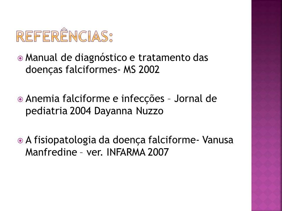 Referências: Manual de diagnóstico e tratamento das doenças falciformes- MS 2002.