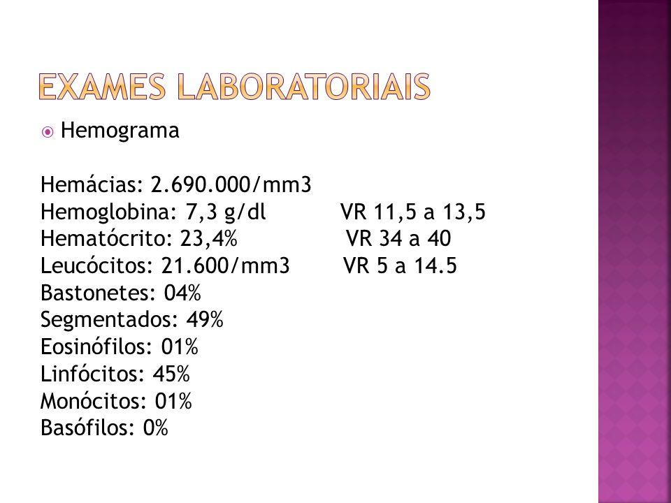 Exames laboratoriais Hemograma Hemácias: 2.690.000/mm3