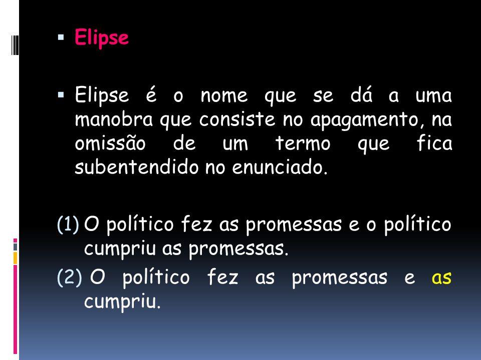 Elipse Elipse é o nome que se dá a uma manobra que consiste no apagamento, na omissão de um termo que fica subentendido no enunciado.