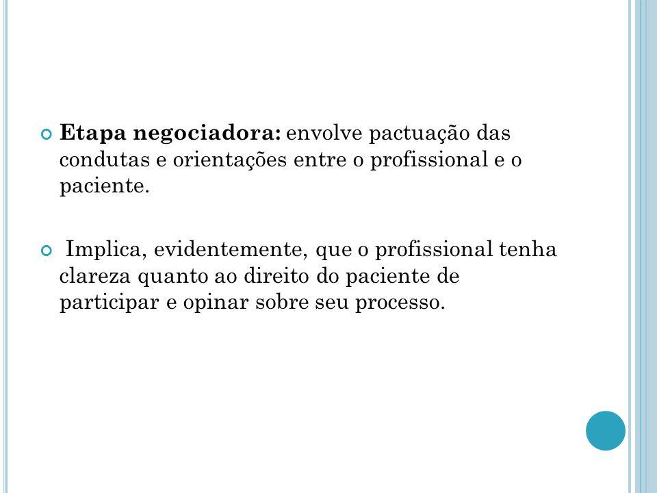 Etapa negociadora: envolve pactuação das condutas e orientações entre o profissional e o paciente.