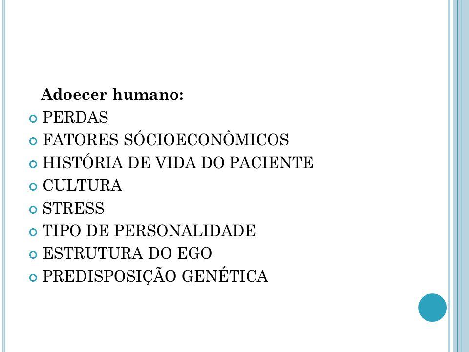 Adoecer humano: PERDAS. FATORES SÓCIOECONÔMICOS. HISTÓRIA DE VIDA DO PACIENTE. CULTURA. STRESS.