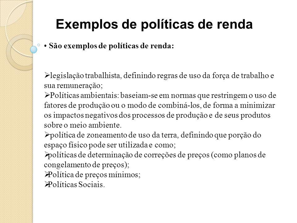 Exemplos de políticas de renda