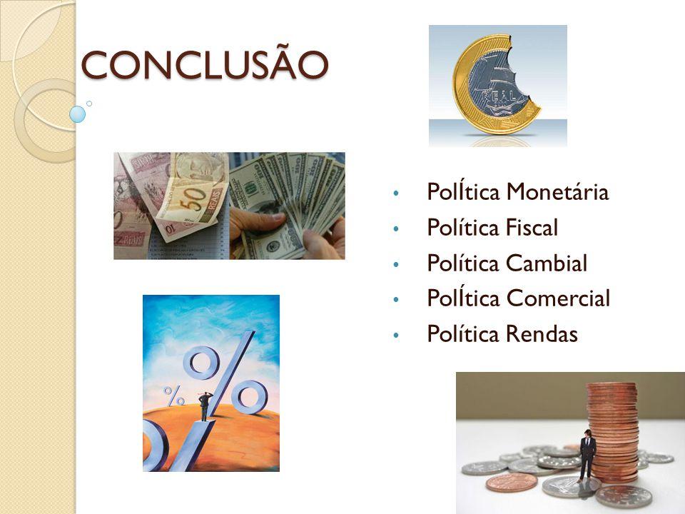CONCLUSÃO PolÍtica Monetária Política Fiscal Política Cambial