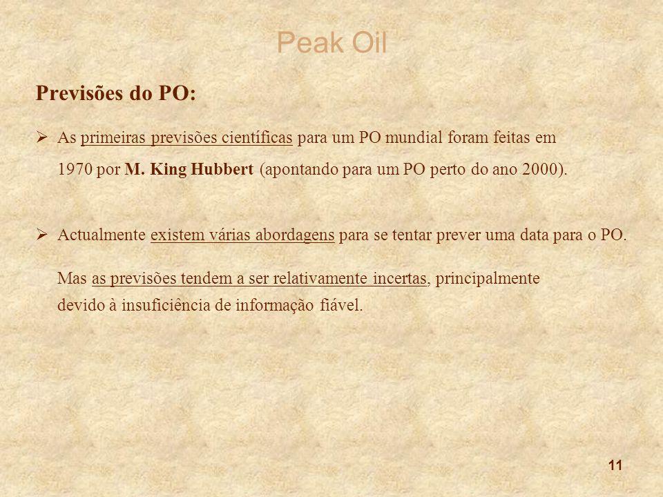 Peak Oil Previsões do PO: As primeiras previsões científicas para um PO mundial foram feitas em.