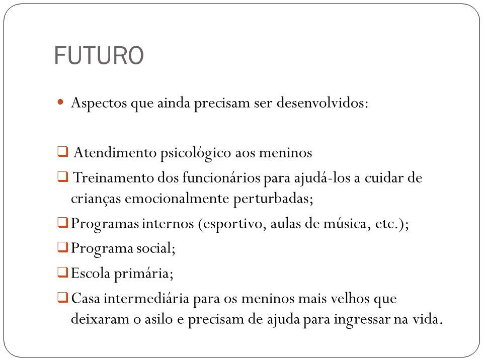 FUTURO Aspectos que ainda precisam ser desenvolvidos:
