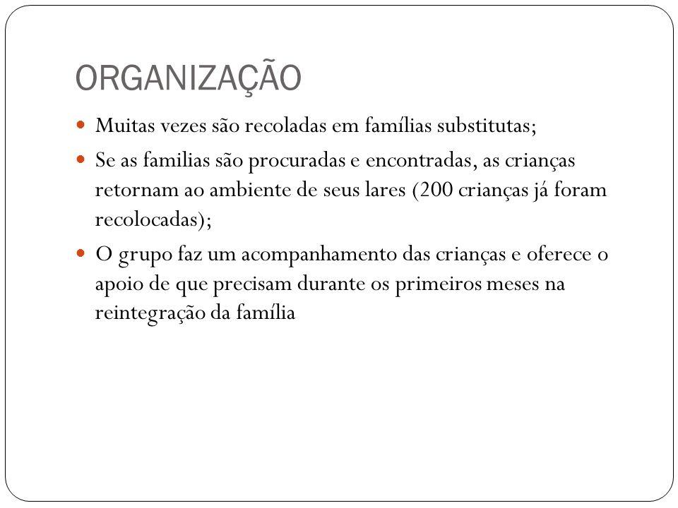 ORGANIZAÇÃO Muitas vezes são recoladas em famílias substitutas;
