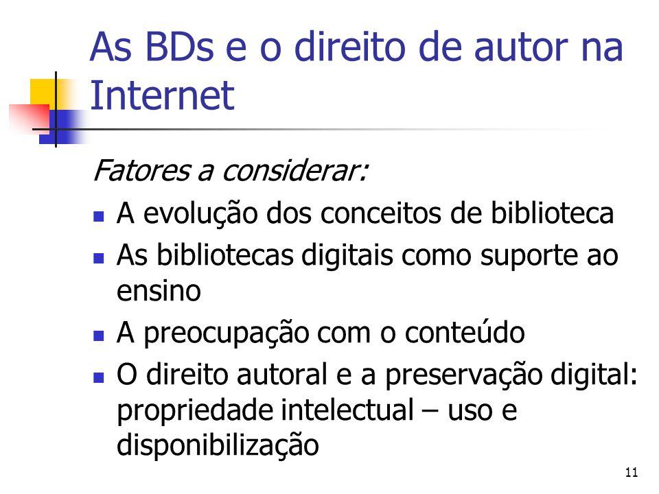 As BDs e o direito de autor na Internet