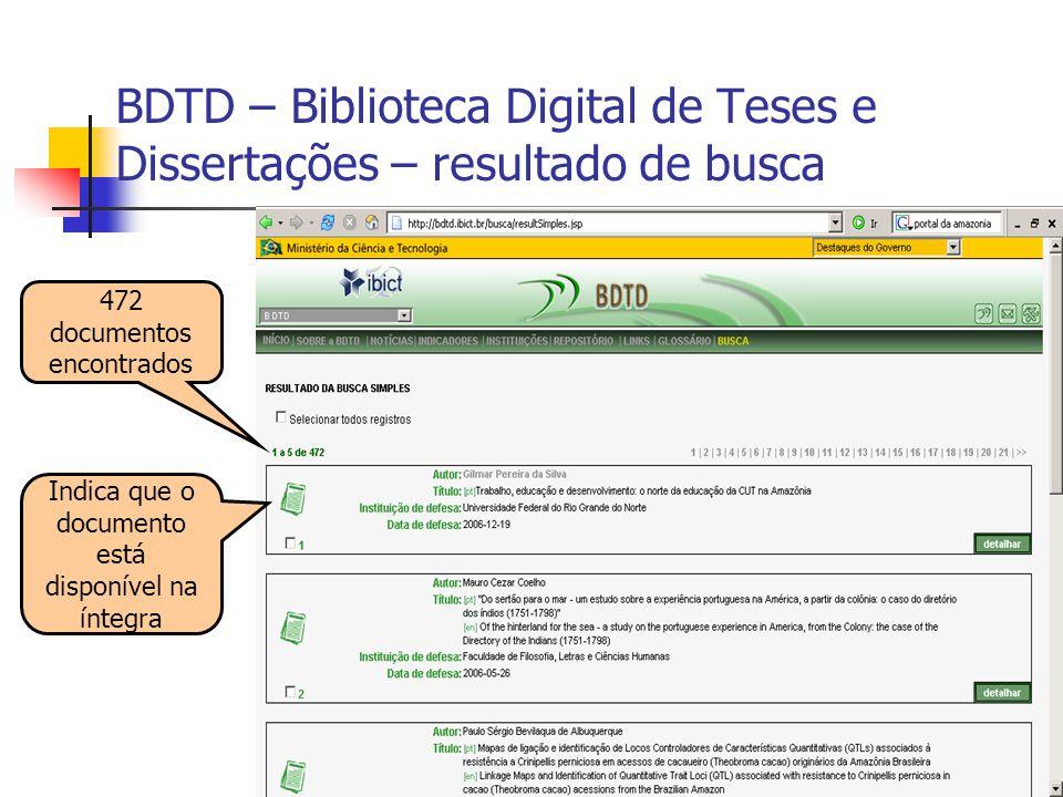 BDTD – Biblioteca Digital de Teses e Dissertações – resultado de busca