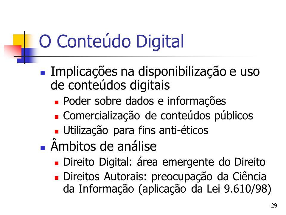O Conteúdo Digital Implicações na disponibilização e uso de conteúdos digitais. Poder sobre dados e informações.