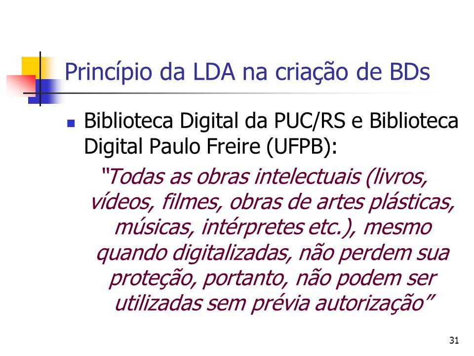 Princípio da LDA na criação de BDs