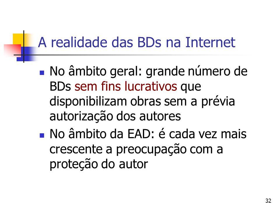 A realidade das BDs na Internet