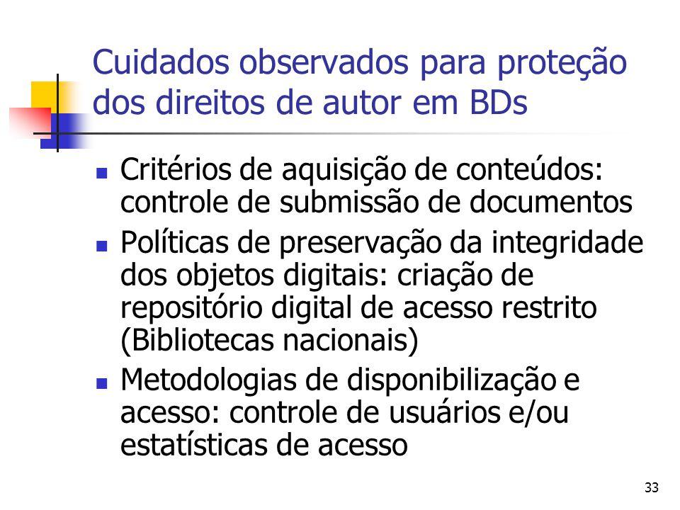 Cuidados observados para proteção dos direitos de autor em BDs
