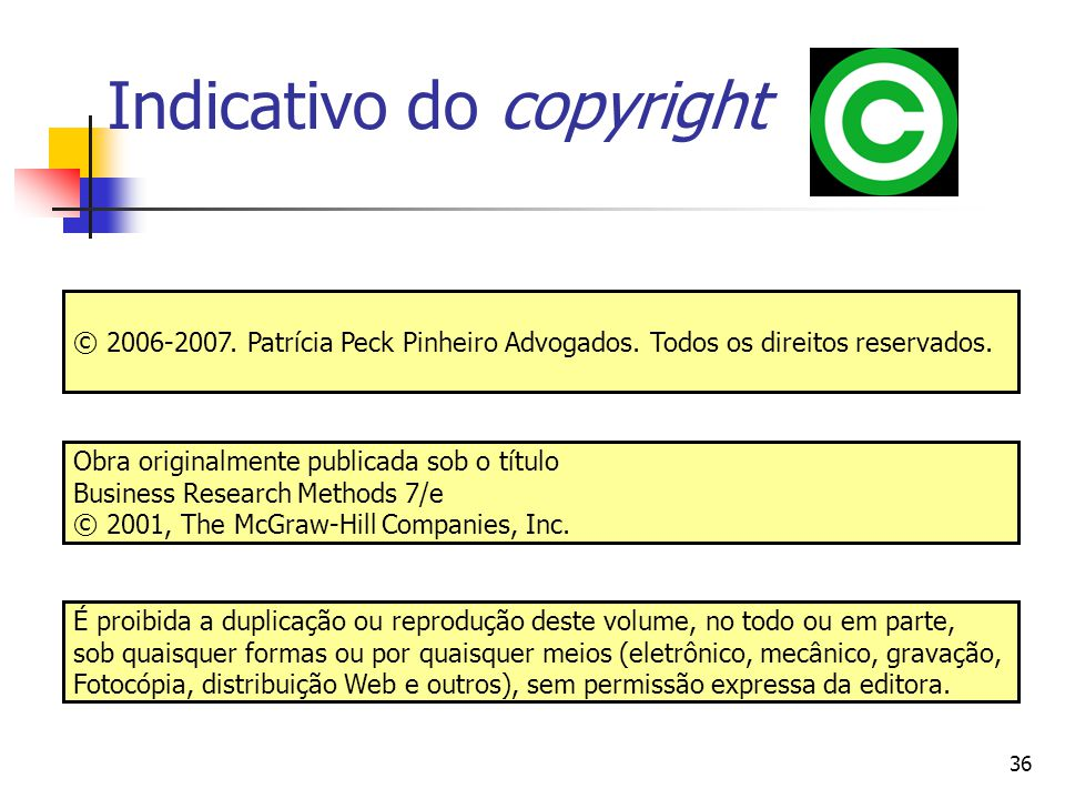 Indicativo do copyright