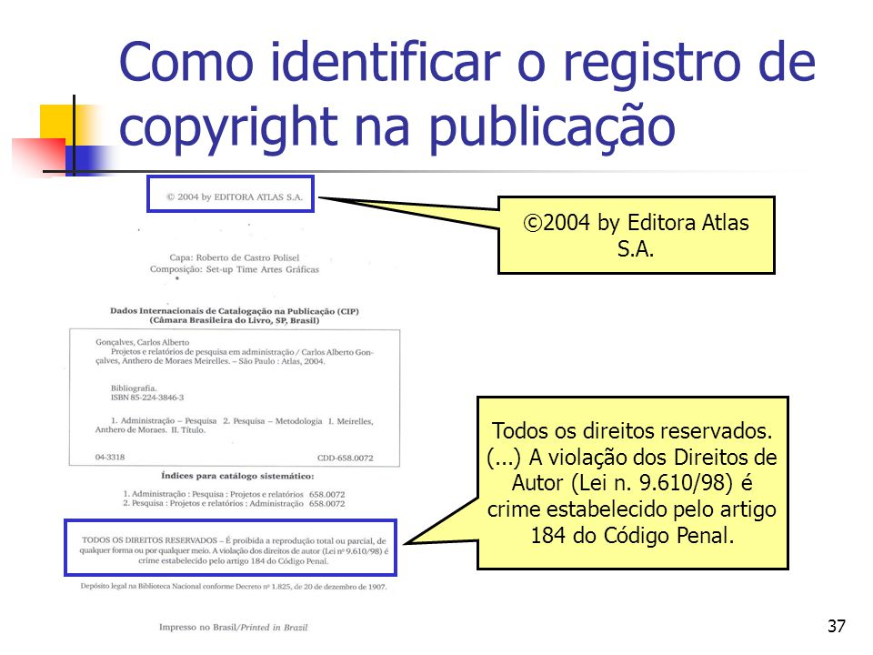 Como identificar o registro de copyright na publicação