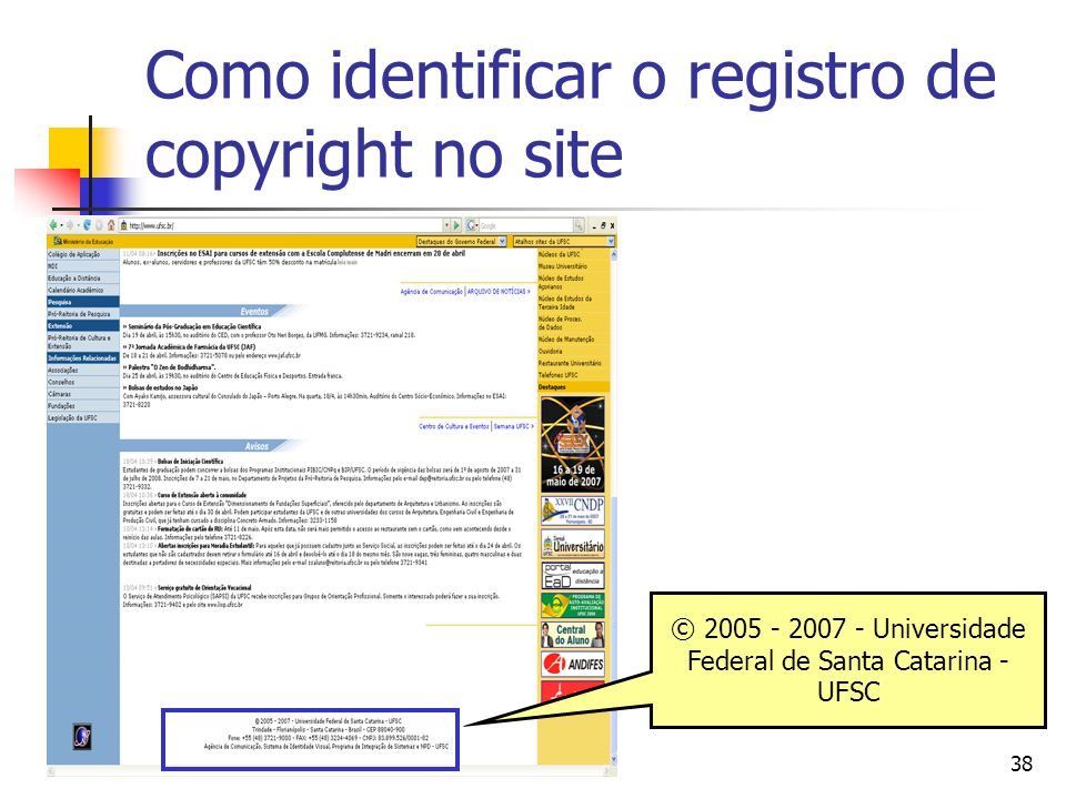 Como identificar o registro de copyright no site