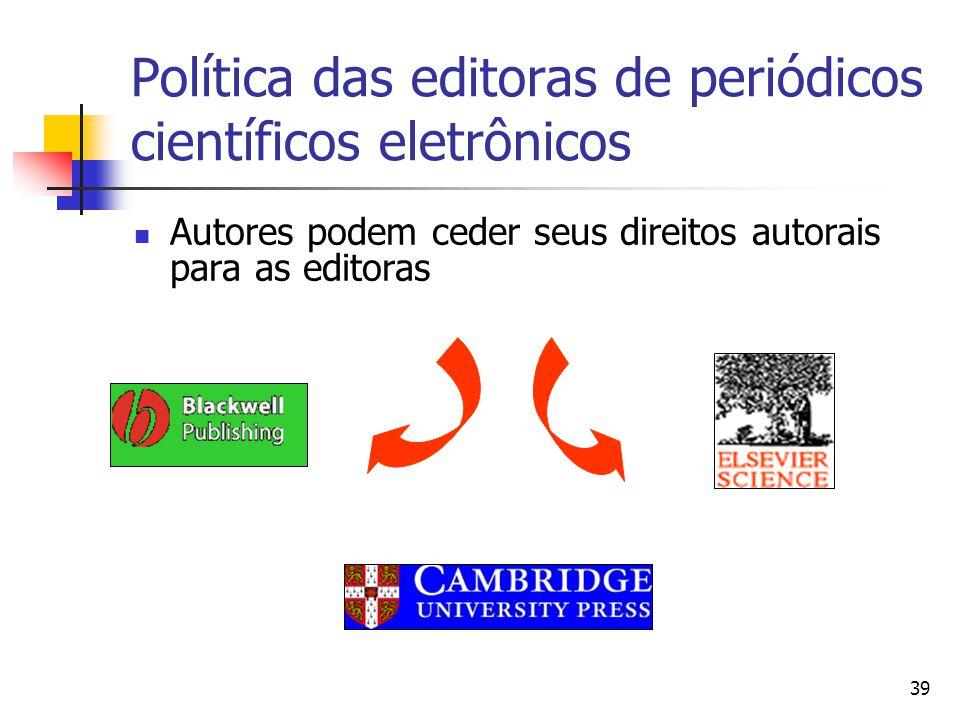 Política das editoras de periódicos científicos eletrônicos