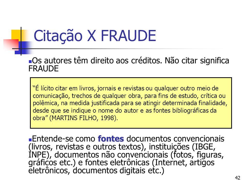 Citação X FRAUDE Os autores têm direito aos créditos. Não citar significa FRAUDE.