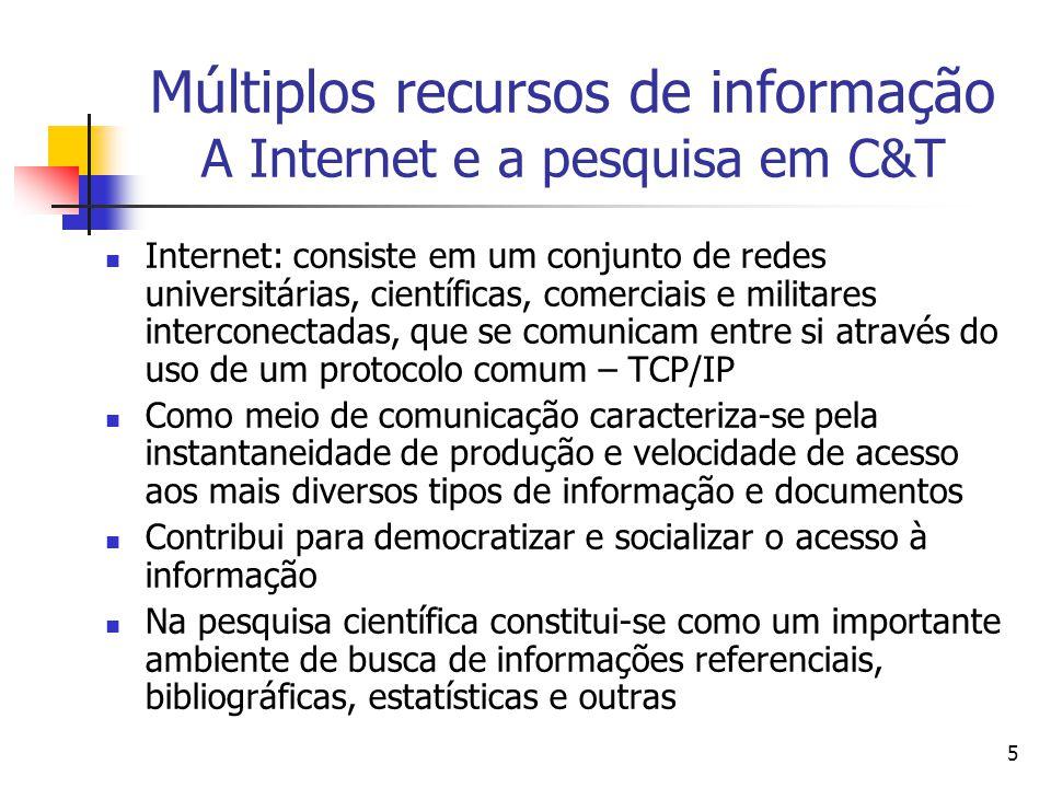 Múltiplos recursos de informação A Internet e a pesquisa em C&T