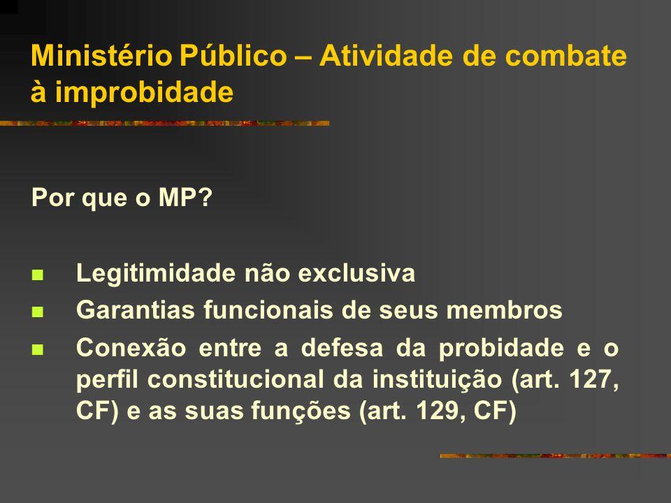 Ministério Público – Atividade de combate à improbidade