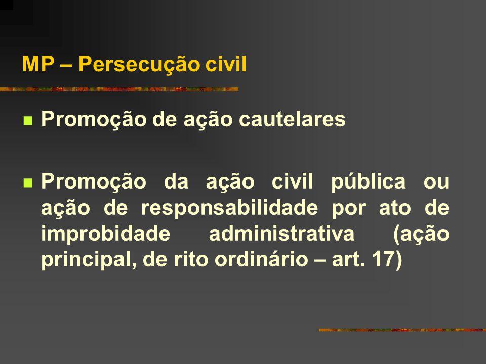 MP – Persecução civil Promoção de ação cautelares.