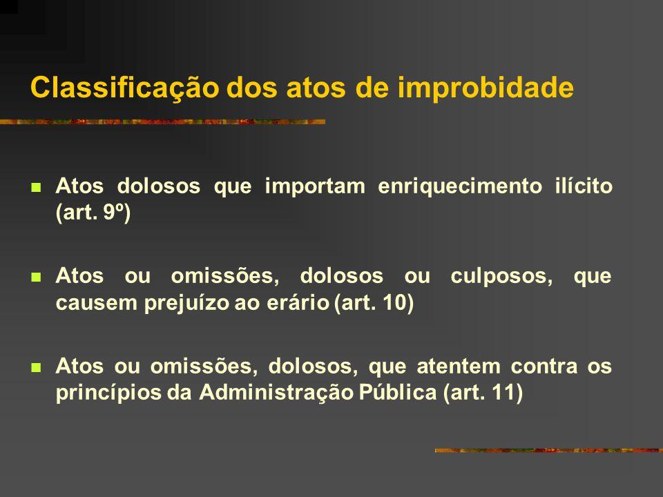 Classificação dos atos de improbidade