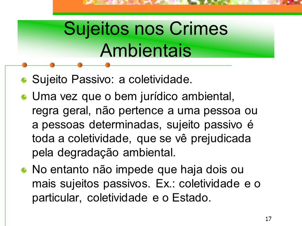 Sujeitos nos Crimes Ambientais