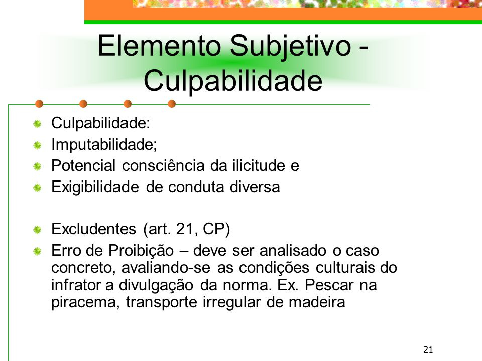 Elemento Subjetivo - Culpabilidade